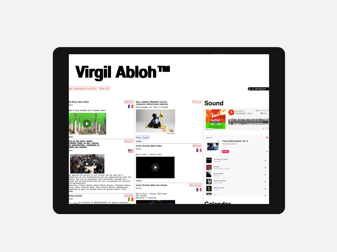 オフホワイト、ルイ・ヴィトンのデザイナーVirgil Abloh(ヴァージル・アブロー)のウェブサイトがオープン